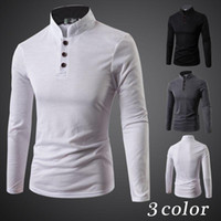 Wholesale Decorated Collar Shirt - new fall and winter clothes decorated three-button collar long-sleeved shirt POLO men Korean Slim Men's Fashion shirt free shippin