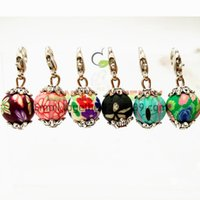 Wholesale Bracelet Ball Dangle - Silver Dangle Charms lobster clasp Coloured drawing or pattern ball pendants DIY Findings For floating locket Bracelet necklace,best gifts