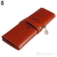 Wholesale Wholesale Pen Pouches Brown - Vintage Retro Roll Leather Make up Cosmetic Pen Pencil Case Pouch Purse Bag 02PT