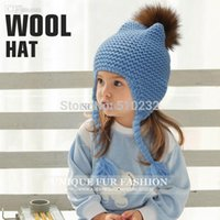 Wholesale Cheap Brand Clothes For Kids - All For Children Clothes Accessories Kids Casual Bomber Baby Hat Warm Knitted Brand Design Factory Made Cheap Cap With FurPom