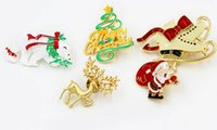 Wholesale Shoe Brooches Clips - Gift Enamel Shoes Polar Bear Merry Christmas Tree Santa Claus Brooch Buckle Collar Clip Christmas Xmas Jewelry Wholesale 12Pcs