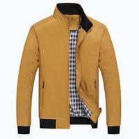 sobretudo de chegada venda por atacado-Outono-2016 Homens Checker Outwear Casaco Casaco Parka Zip Up Trench Coats Casacos Casuais Moda Jaqueta Nova Chegada
