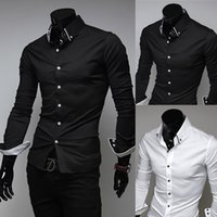 Wholesale Men Casual Shirts White - 2015 New Men Suit Dress Shirts Style Black White Slim Fit Top Design Casual M-XXL
