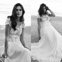 Wholesale Custom Fitted Ball Caps - Bohemian Scoop Beach Lace Wedding Dresses Chiffon Capped Spring Arabic Fitted 2018 Plus Size vestido de noiva Bridal Gown Ball For Bride