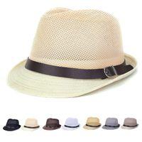 Wholesale Mens Cowboy Straw Hats Wholesale - Wholesale-Mesh Hollow Out Fedoras Hats Straw hats For Women Men Panama Fedora Summer Style Beach Sun Jazz Mens Hat Belt Buckle Caps