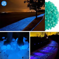Wholesale Glowing Blue Stones - 100 pcs Glow in the Dark Garden Pebbles Glowing Stones for Walkway Yard and Decor(Blue)