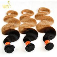 sarışın brazilian dalga saç paketleri toptan satış-Ombre Saç Uzantıları Sınıf 8A Iki Ton 1B / 27 # Bal Sarışın Ombre brezilyalı Bakire Saç Vücut Dalga Remy İnsan Saç Dokuma Paketler 3 Adet