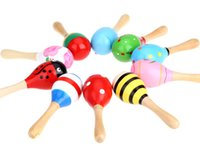Wholesale Kids Percussion Instrument - Kids Children Toy Musical Instrument Maraca Wooden Percussion Instrument Musical Toy for KTV Party New Arrival