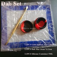 Wholesale Dry Herb Sets - Silicone Wax Kit Set with 14cm*11.5cm square sheets pads mats 5ml silicon container long gold dabber tool for dry herb jars dab
