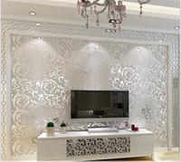 europäisches 3d tapeten großhandel-Europäische wasserdichte Tapete des Wohnzimmers 3d, Schlafzimmersofa Fernsehhintergrund des silbernen Farbwandaufklebers der Tapetenrolle