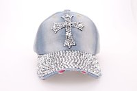 Wholesale Womens Rhinestone Hat - Quality Rhinestone Bling Cross Hats Washed Denim Adjustable Baseball Caps Fancy Curved Hat Adults Womens Summer Designer Skull Caps