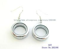 Wholesale Plain Circle Charm - 1 pair plain earring Living Floating Memory Glass Locket For Locket Bracelet necklace DIY charms for locket