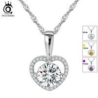 Wholesale ct heart - Romantic Love Heart Pendant Necklace with 2 ct Heart and Arrow Cut AAA Grade Zircon Best Jewelry Gift for Ladies ON96