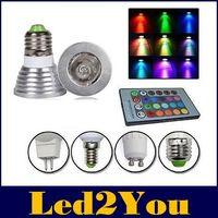 Wholesale Led Bulbs Christmas - For Christmas Party KTV Lighting RGB 3W Led Spot Lights E27 MR16 GU10 Led Lights Bulbs Memory Colorful Change AC 85-265 + 24keys Controller