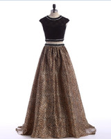 Wholesale Leopard Print Dress Evening Gowns - Evening Gowns 2016 Party Dresses Formal Gowns Leopard Print Two Pieces A Line Beading Black Pageant Gowns Custom Made Long vestidos de noche