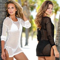 Wholesale White Crochet Swim Suit - 2015 NEW Women Sexy Handmade Crochet Beach wear ,Fashion Women Swim Suit Cover Ups, Women Beach Cover Up