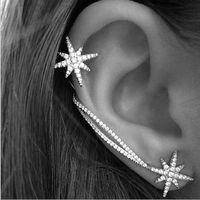 Wholesale Clip Chain Earrings Crystal - New Design Asymmetric Luxury Rhinestone Crystal Snowflake Star Ear Cuff Silver Chain Clip Earrings For Women QW