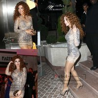 Wholesale Evening Fully Beaded - Free Shipping Gorgeous Myriam Fares Evening Dress Long sleeve Sheer High Neck Fully Beads Crystal Sheath Special Occasion Gowns Prom