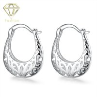 Wholesale Half Hoop Earrings - New Design Silver-Plated Half Moon Hollow Out Fashion Hoop Earrings Jewelry Best Gift for Women Girls Party Wedding