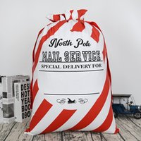 Wholesale Ma Year - 2017 new arrival gift striped envelop canvas santa sack Christmas drawstring gift bags kids candy bag indoor decoration X-mas presents