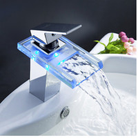 Wholesale Changing Basin Taps - Wholesale And Retail Free Shipping LED Color Changing Waterfall Bathroom Basin Faucet Square Vanity Sink Mixer Tap Hot Cold Tap