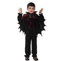 tv de suprimento grátis venda por atacado-Promoção Produtos Fontes do Partido Vampiro Morcego Terno Trajes de Halloween Para Crianças Trajes Cosplay Presentes das Crianças Frete Grátis