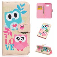 Cartera Flip Funda de cuero para Samsung Galaxy S7 S7 Plus J5 J7 Mariposa Owl Feather Wave With Stand Holder Cubierta orden de la mezcla