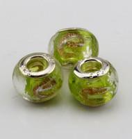 perles de grand trou au chalumeau achat en gros de-Chaud! 100 pcs Herbe jaune Or Argent Feuille Alphabet