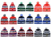 Wholesale orange winter beanie - New Fashion Unisex NRL Winter Hats for Men women Knitted Beanie Wool Hat Man Knit Bonnet Basketball Beanie Gorro Thicken Warm Ca