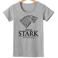 jeux gratuits d'été achat en gros de-Gros-Jeux de Thrones T-shirts Femmes Hiver Est Venant Femme T-Shirt À Manches Courtes O cou Tops Style D'été t-shirts Livraison Gratuite T-shirts