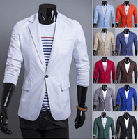 Wholesale Korean Male Fit Clothing - New arrival 12 Colors one-button blazers menleisure male fashion 2014 Korean Slim Fit boxy red blue jacket clothing M-XXL