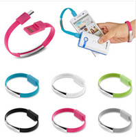 Wholesale Chinese Red Bracelet - 50pcs New Design Fast Charging 22cm Portable Noodle Usb Charger Cable Sync Data Bracelet Wrist Band Charger Cable Adaptor for Mobile Phone
