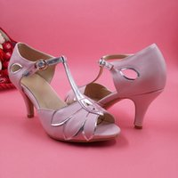 "Wholesale Ivory Mid Heel Shoes - Blush Pink Wedding Shoes Women Pumps Mid High Heel T-Straps Buckle Closure Party Dance 3"" High Heels Women Sandals Made-to-order Kitten Heel"