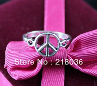 Wholesale Vintage Rings Peace - Fashion Vintage Silver 50PCS Alloy Hollow Peace Sign Ring Finger Nail Rings Finger Lord Of The Rings DIY Jewelry 18mm N621