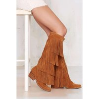 Wholesale Wooden Leather High Heels - 2015 stylish tan suede charming fringe detailing ladies tall boots pointed toe stacked wooden heel cushioned insole boots
