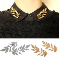 Wholesale Ear Pins Wedding - 2015 New Fashion alloy golden plated ears wheat leaves retro shirt men women collar brooch pin collar Jewelry wholesale 2 color [GE07021*10]