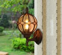 ingrosso luci esterne per balcone-Lampada da parete esterna impermeabile balcone a risparmio energetico giardino luci a LED Europeo retro corridoio pioggia lampada da parete
