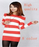 Wholesale Stripe Long Sweater Slim - 2015 spring new Women's clothing Korea fashion knitted Round collar stripe sweater Lady winter slim long knitwear O Neck sweater FG1511