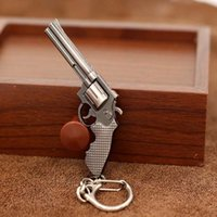 Wholesale Miniature Keys - Fashion Miniature Revolver Pistol Weapon fashion Model Keychain Key Rings New Mini Gun key Chain For Men Jewelry Surprise Gift