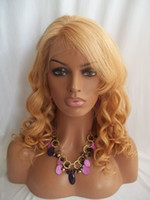 Wholesale Human Hair Blonde Bangs - Brazilian Virgin Hair Lace Front Human Hair Wigs #27 Blonde Hair Wigs Loose Wave Lace Wig With Bangs 8''-24'' In Stock Free Shipping
