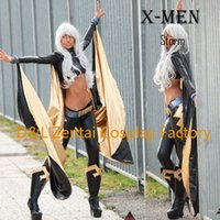 Wholesale Storm Costumes - Free Shipping DHL X- Men Storm Ororo Munroe Superhero Costume Black And Gold Shiny Metallic Suit Halloween Cosplay Costume XM111