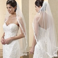 Wholesale Mantilla Veil Champagne - Newest Gorgeous Mantilla Wedding Veil One Layer Ruffled Lace Edge Fingertip Length Bridal Veils with Comb Free Shipping