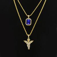 männliche engel anhänger großhandel-Herren Hip Hop Schmuck Sets Mini Square Ruby Sapphire Voller Kristall Diamant Engel Flügel Anhänger Gold Kette Halsketten für Männer Hiphop Schmuck