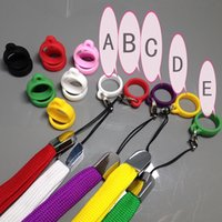 Wholesale Holder Necklace For E Cigarette - E-Cigarette colorful rings Colorful ego necklace Silicone Rings for ecig vaporizer pen holder neck lanyard accessories