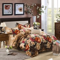 Wholesale King Size Sheets Flannel - Wholesale- Colorful flowers print Carol Flannel Fleece winter 4pcs bedding set(1duvet cover 1 flat sheet 2 pillowcase) queen king size