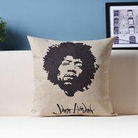 Wholesale Decorative Linen Burlap Pillows - God of guitar Jimmy Hengdelige Black and white portrait decorative cotton linen burlap throw pillows for cushions sofa cojines