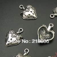 Wholesale Tibetan Beads For Jewelry Making - 150pcs Tibetan Silver Strawberry Charms Pendant For Bracelet Necklace Fashion Jewelry Beads Making DIY Accessories HOT Girls Bijoux C348