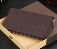 Wholesale yellow leather clutch - Hot zippy wallet High quality PU Leather Fashion designer clutch famous brand clutch water ripple wallet with box dust bag