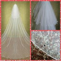 Wholesale Hair Tier - Elegant Two Tiers Layer Beaded Crystal Wedding Veils Cathedral Vintage Bridal Veils 2015 Bridal Hair Accessories With Comb Rhinestone Veils