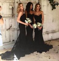 sereia strapless vestidos de baile preto venda por atacado-2018 New Black Strapless Lace Sereia Longo Da Dama De Honra Vestidos Sem Mangas Sweep Train Formal Vestidos de Festa de Formatura